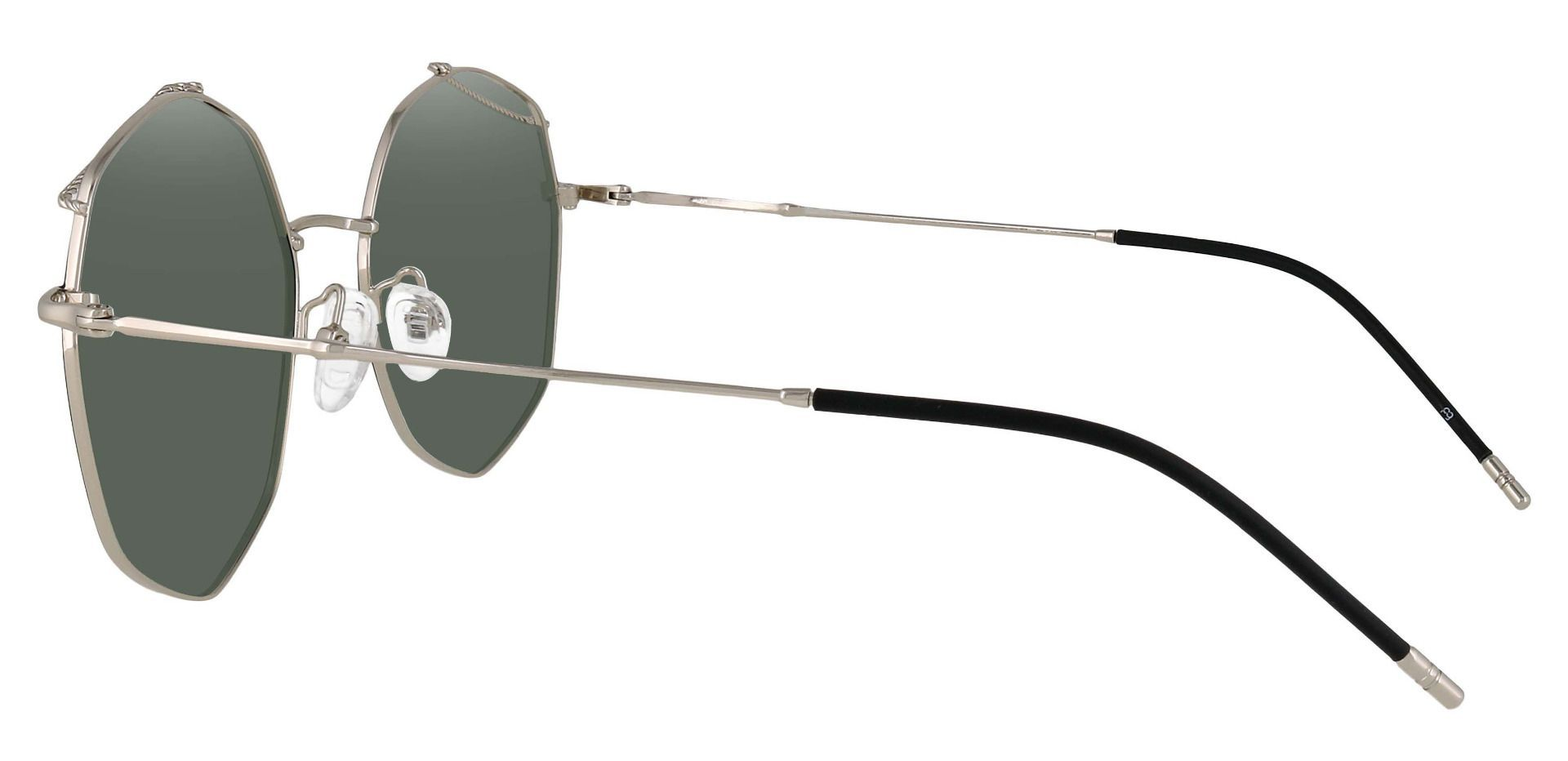 Tango Geometric Prescription Sunglasses - Black Frame With Green Lenses