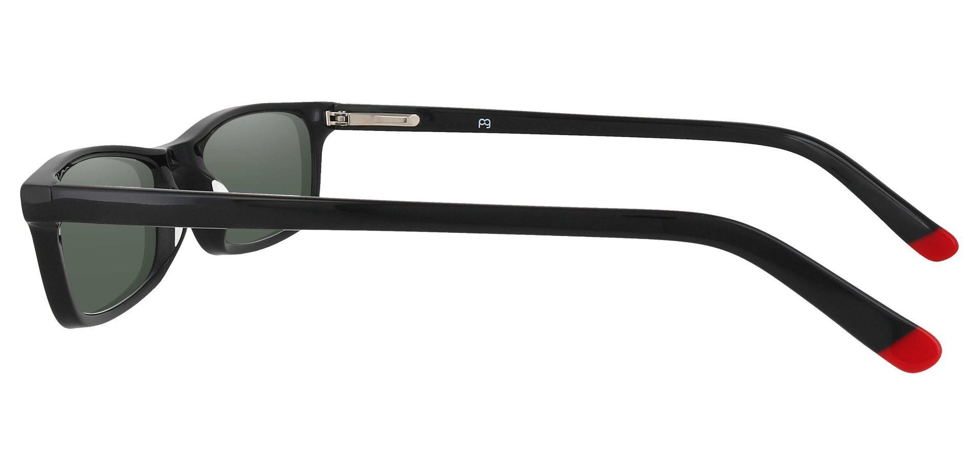 Palisades Rectangle Non-Rx Sunglasses - Black Frame With Green Lenses