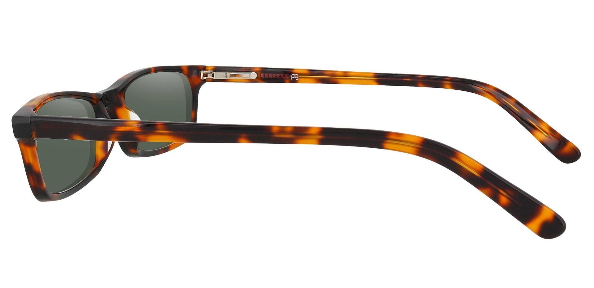 Palisades Rectangle Single Vision Sunglasses - Tortoise Frame With Green Lenses
