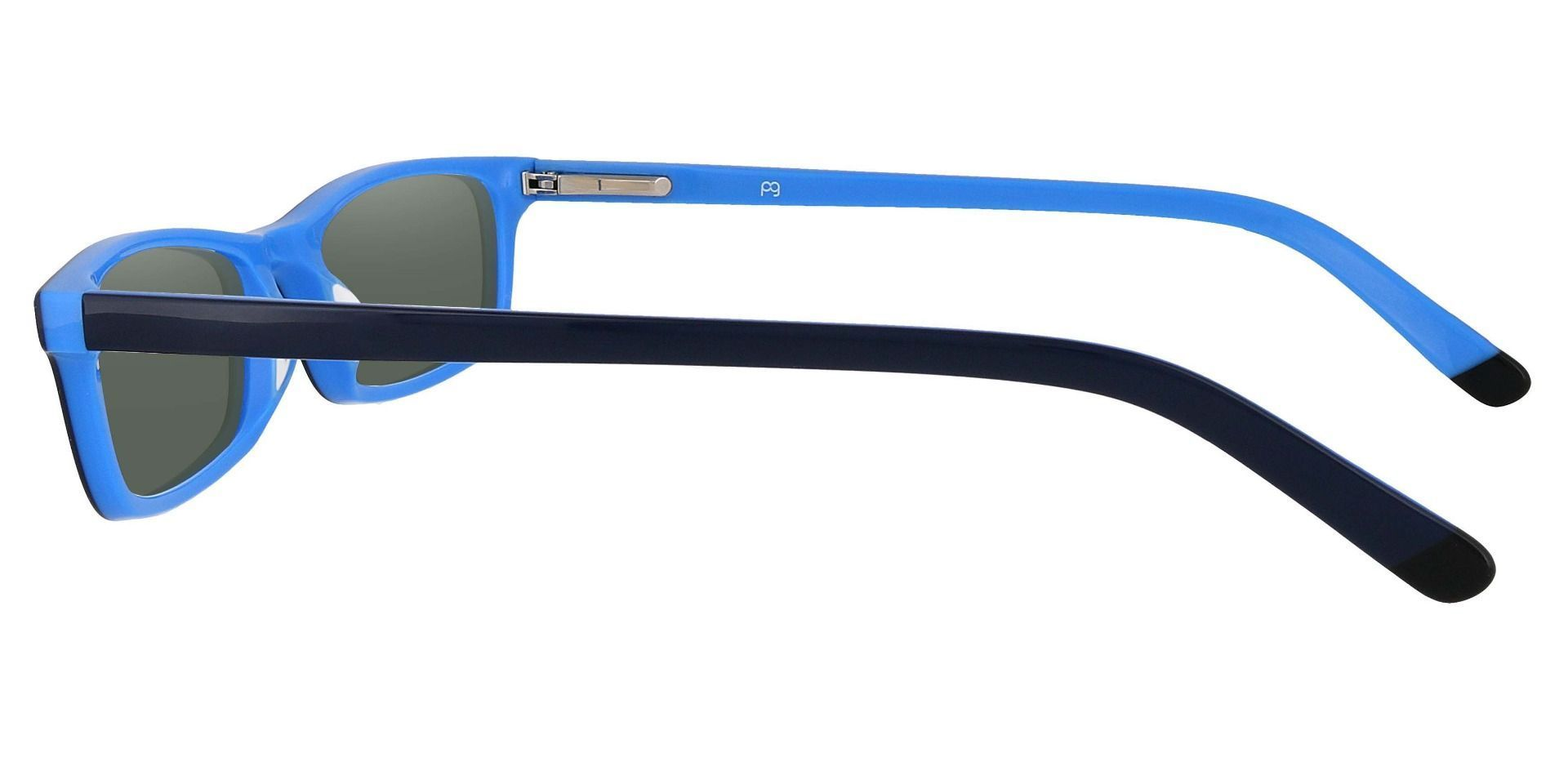 Palisades Rectangle Single Vision Sunglasses - Blue Frame With Green Lenses