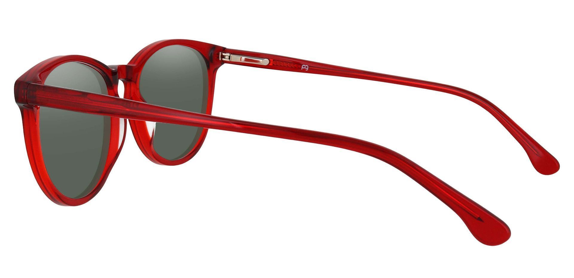 Carriage Round Lined Bifocal Sunglasses - Red Frame With Green Lenses
