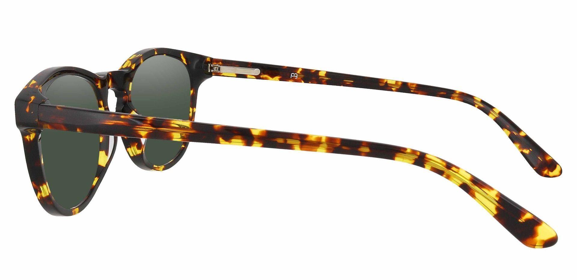 Laguna Oval Prescription Sunglasses - Tortoise Frame With Green Lenses