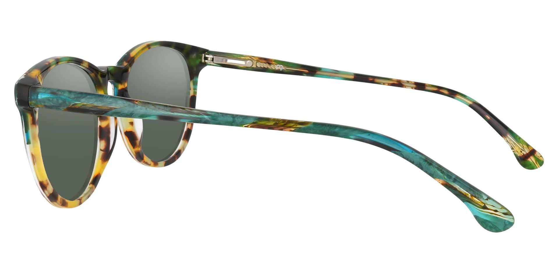 Carriage Round Progressive Sunglasses - Multi Color Frame With Green Lenses