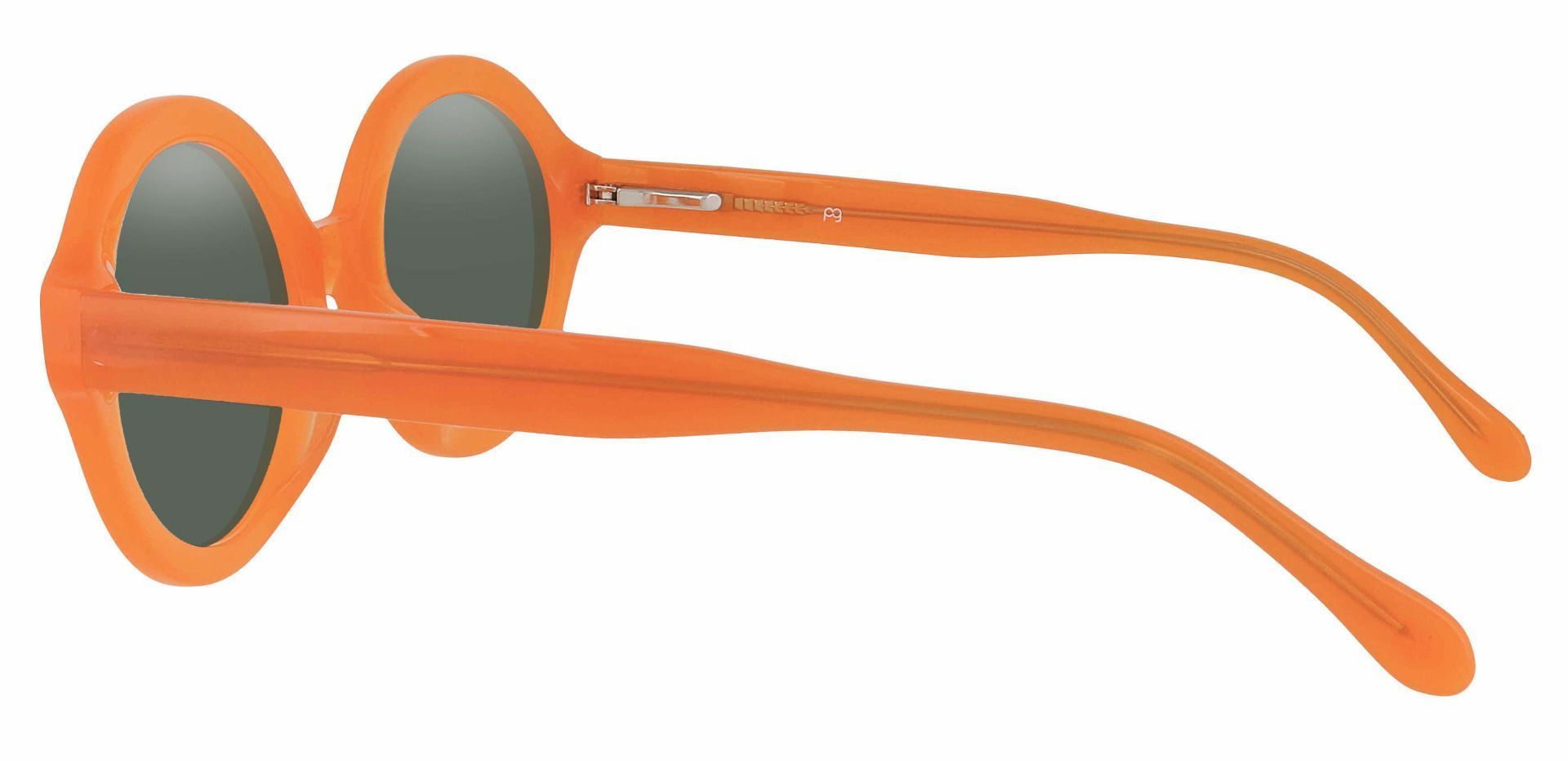 Clara Round Reading Sunglasses - Orange Frame With Green Lenses