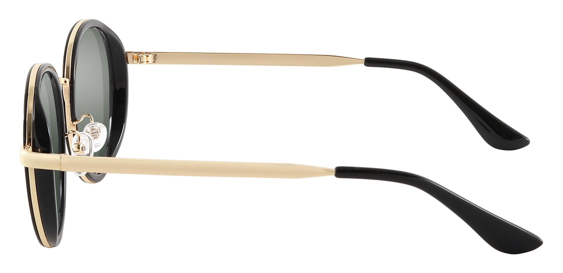 Bosco Round Prescription Sunglasses - Black Frame With Green Lenses