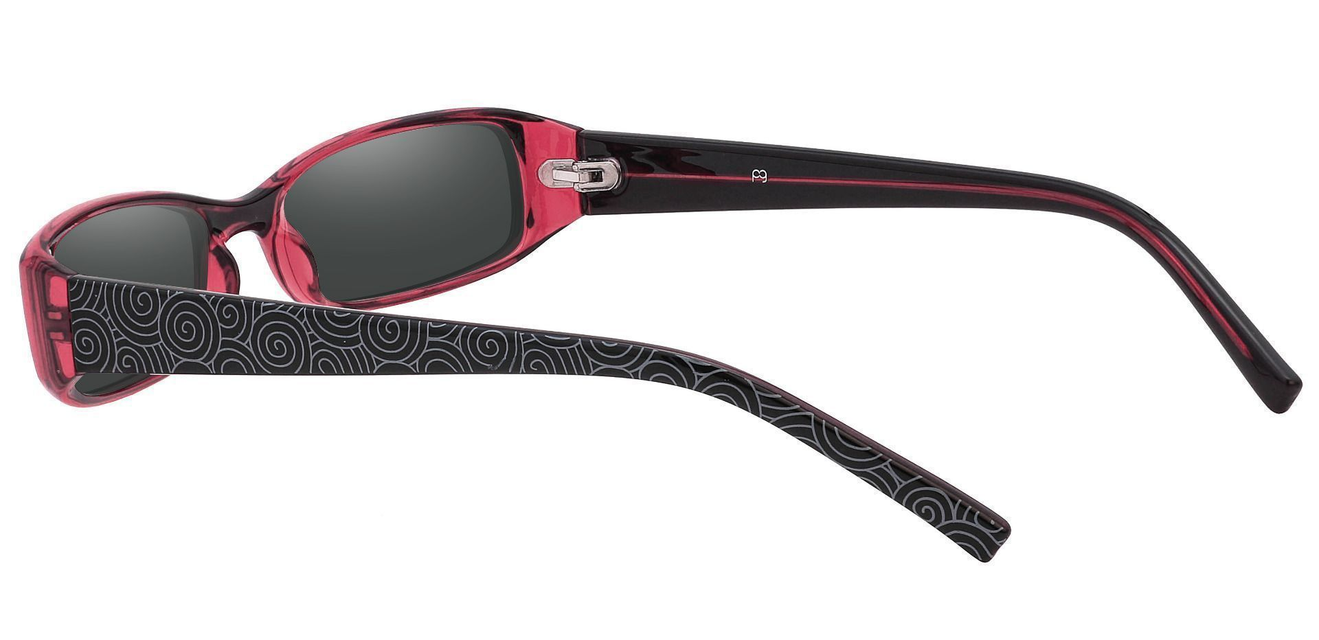Veronica Rectangle Single Vision Sunglasses - Red Frame With Gray Lenses