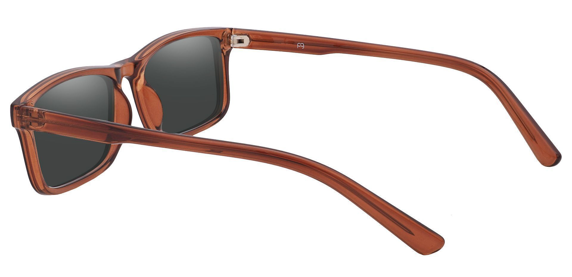 Ames Rectangle Prescription Sunglasses - Brown Frame With Gray Lenses