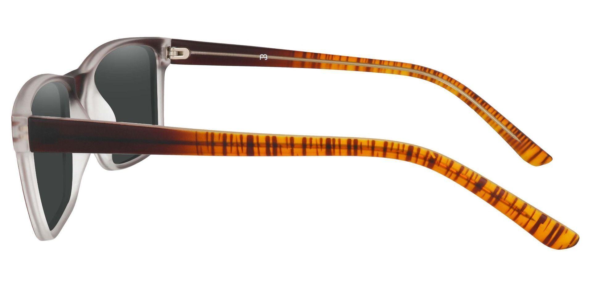 Royal Rectangle Prescription Sunglasses - Brown Frame With Gray Lenses