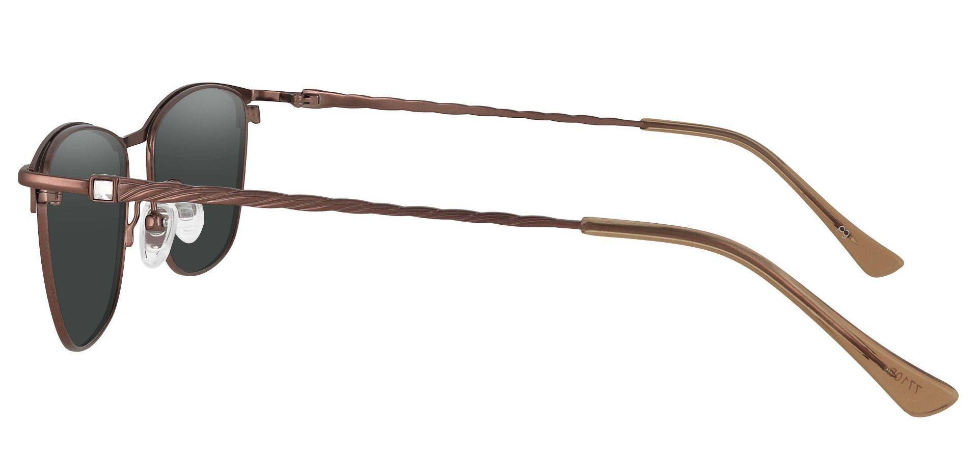 Andrea Cat Eye Progressive Sunglasses - Brown Frame With Gray Lenses