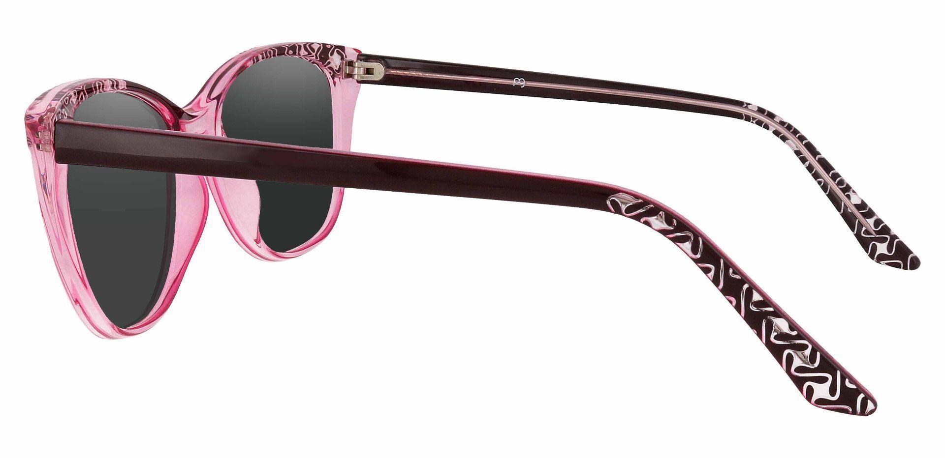 Alberta Cat Eye Progressive Sunglasses - Pink Frame With Gray Lenses