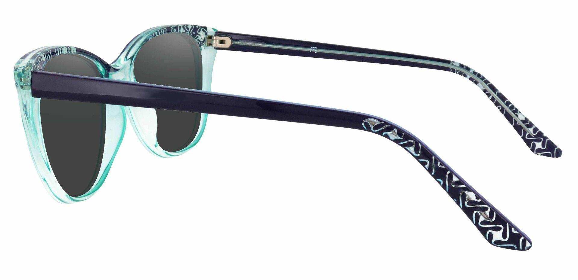 Alberta Cat Eye Lined Bifocal Sunglasses - Blue Frame With Gray Lenses