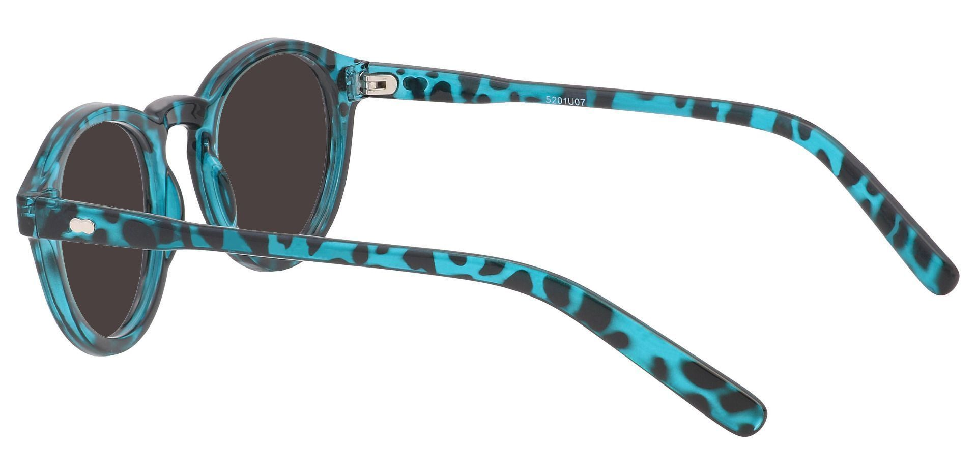 Vee Round Prescription Sunglasses - Green Frame With Gray Lenses