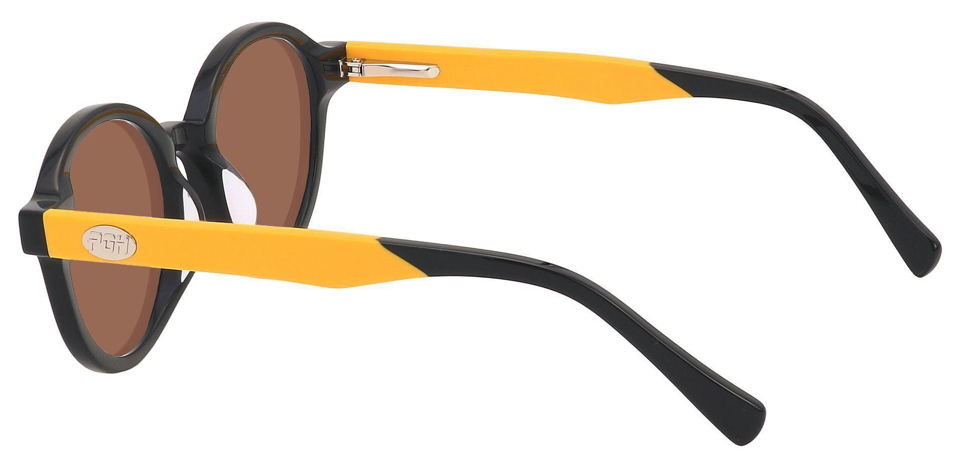 Champ Round Reading Sunglasses - Black Frame With Brown Lenses