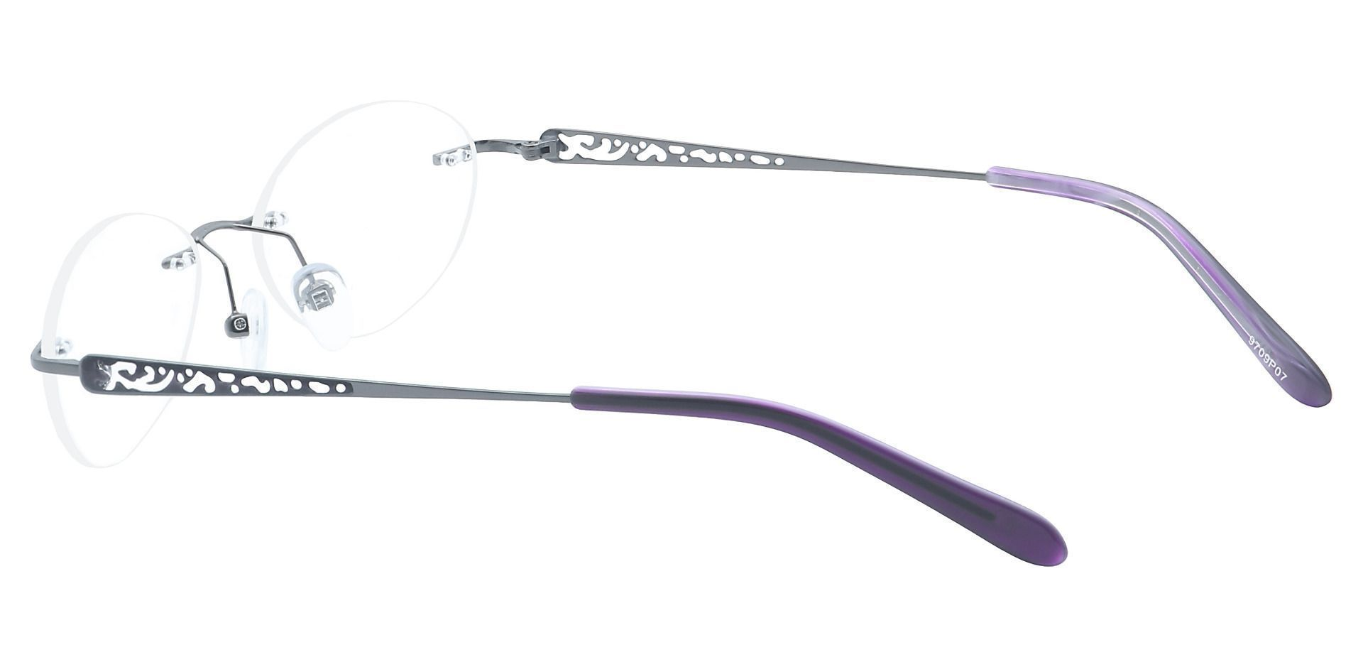 Christina Rimless Non-Rx Glasses - The Frame Is Black And Purple