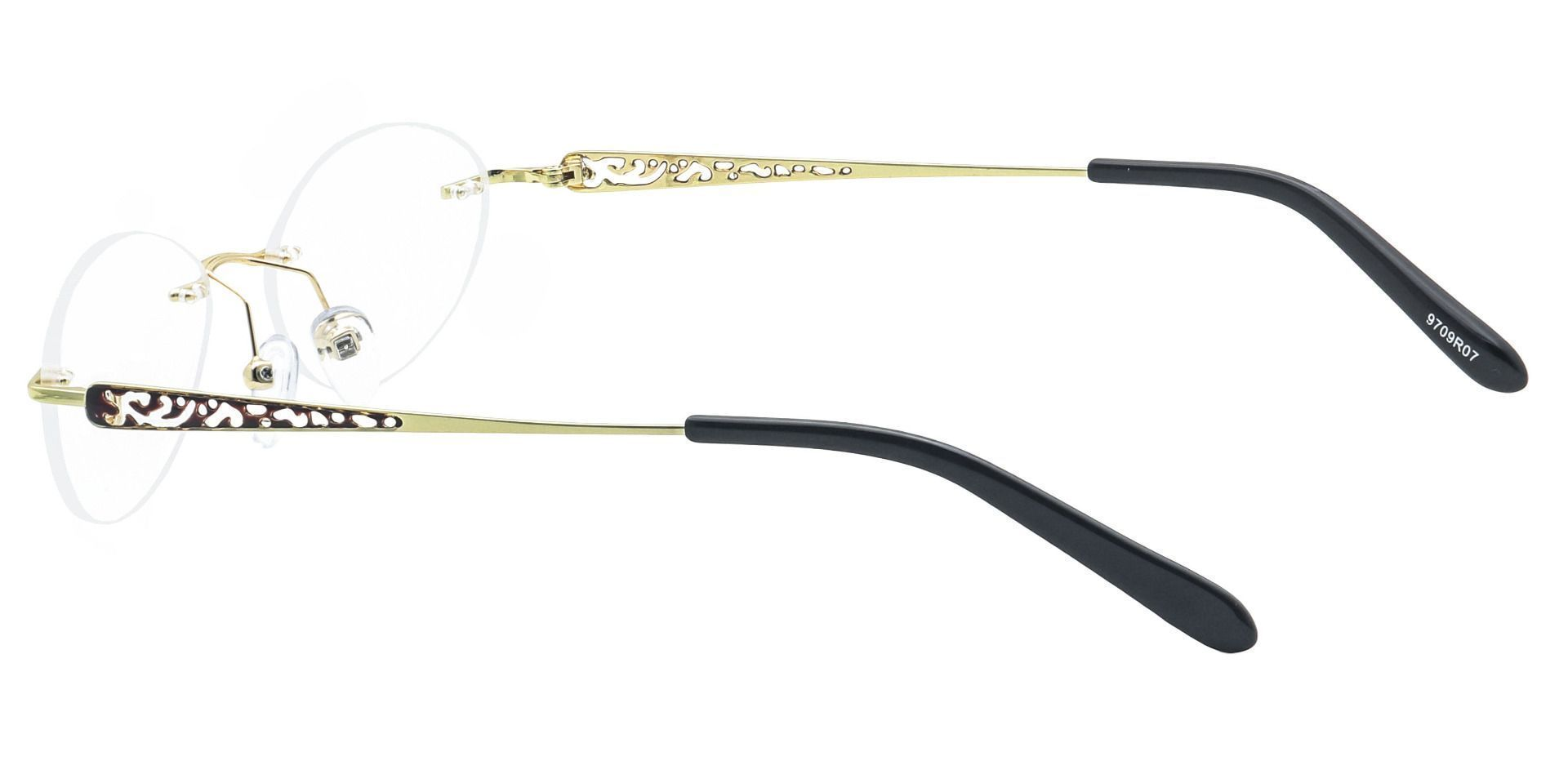 Christina Rimless Lined Bifocal Glasses - The Frame Is Yellow And Red