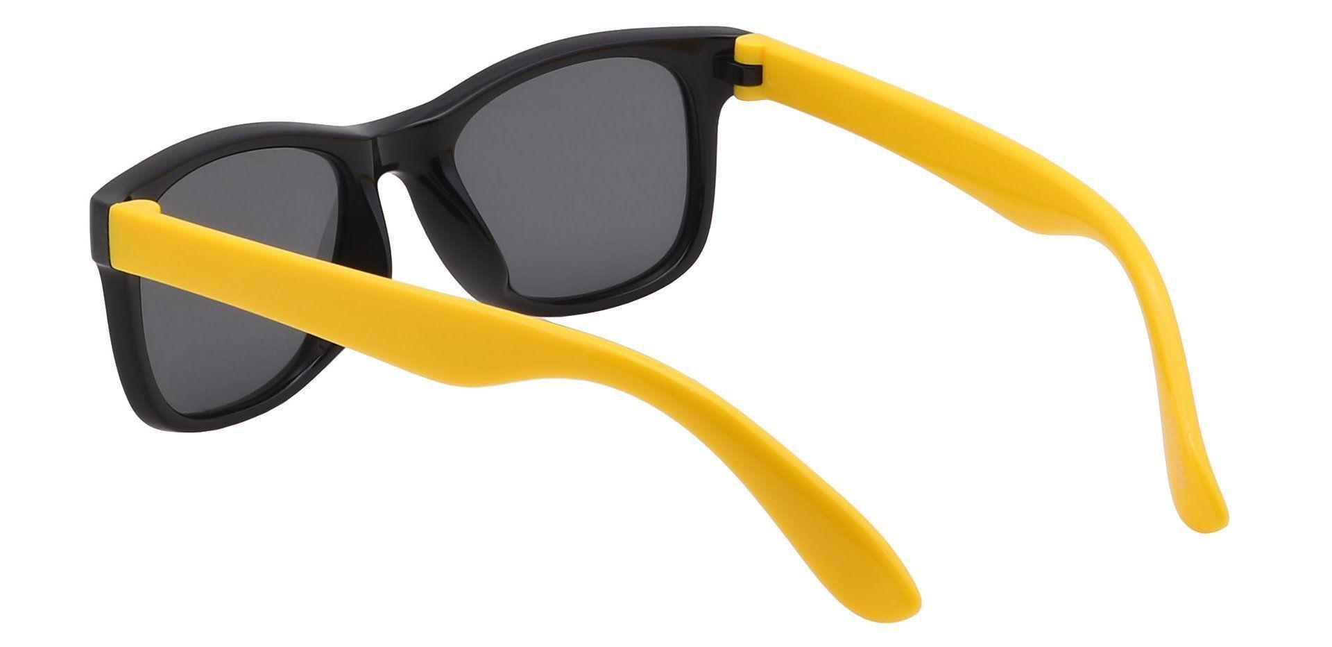 Benny Square Single Vision Sunglasses - Black Frame With Gray Lenses
