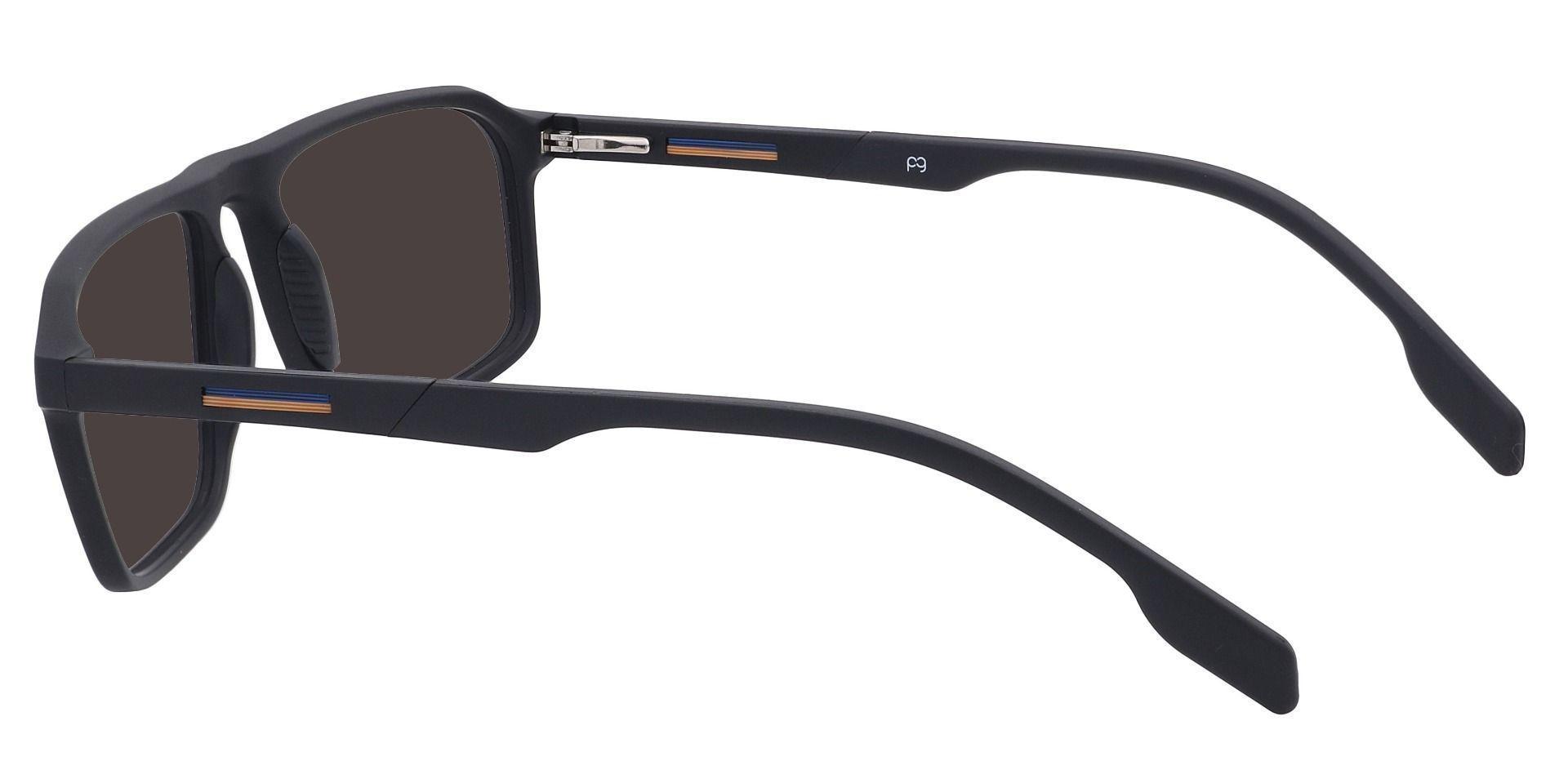 Hector Rectangle Prescription Sunglasses - Black Frame With Gray Lenses
