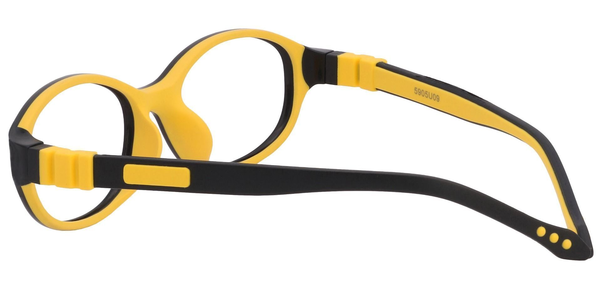 Stone Oval Prescription Glasses - The Frame Is Black And Yellow