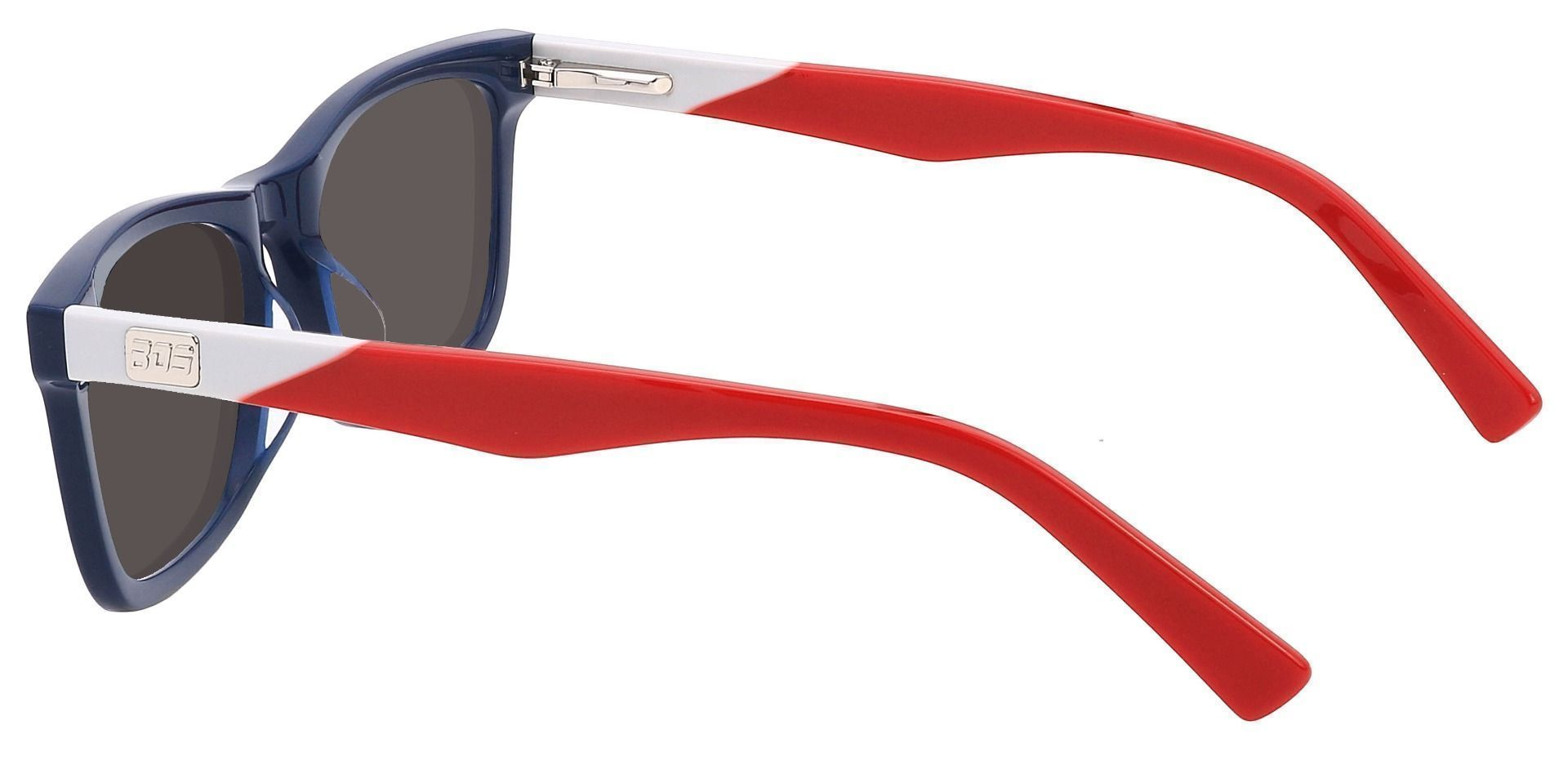 Newbury Rectangle Non-Rx Sunglasses - Blue Frame With Gray Lenses
