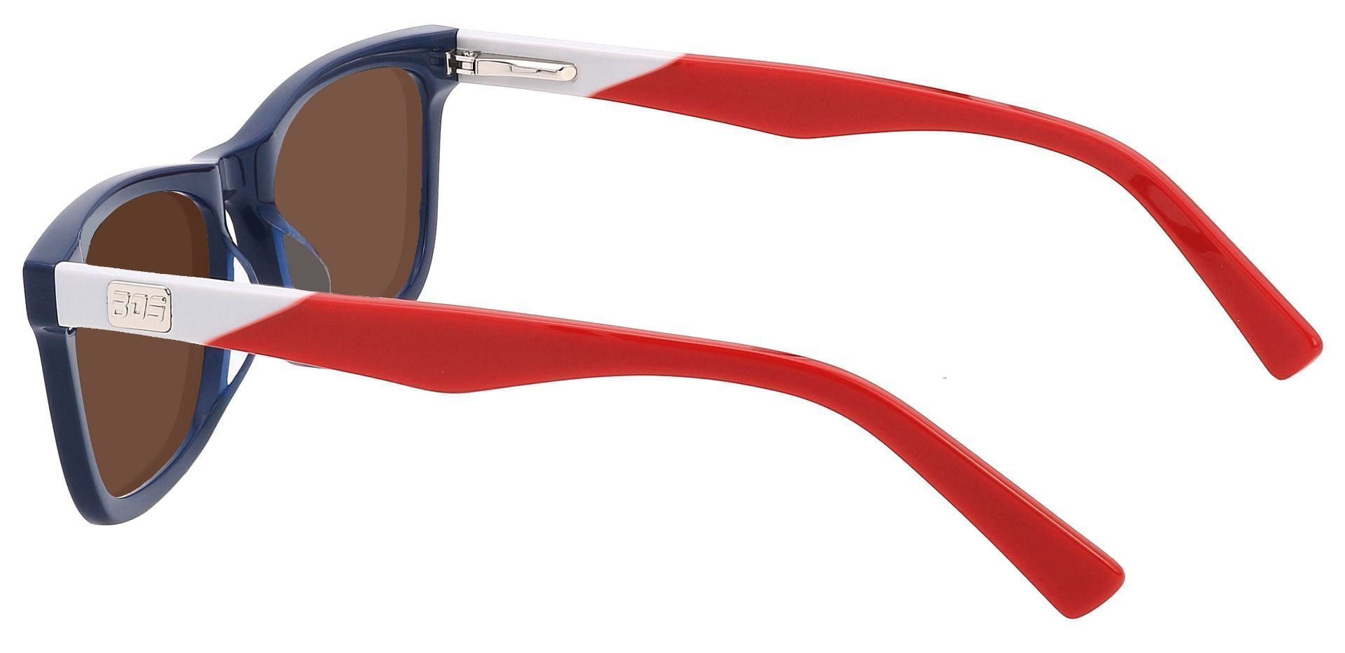 Newbury Rectangle Prescription Sunglasses - Blue Frame With Brown Lenses