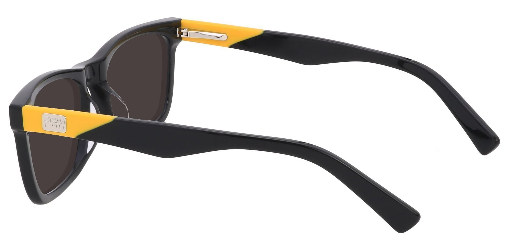Liberty Rectangle Prescription Sunglasses - Black Frame With Gray Lenses