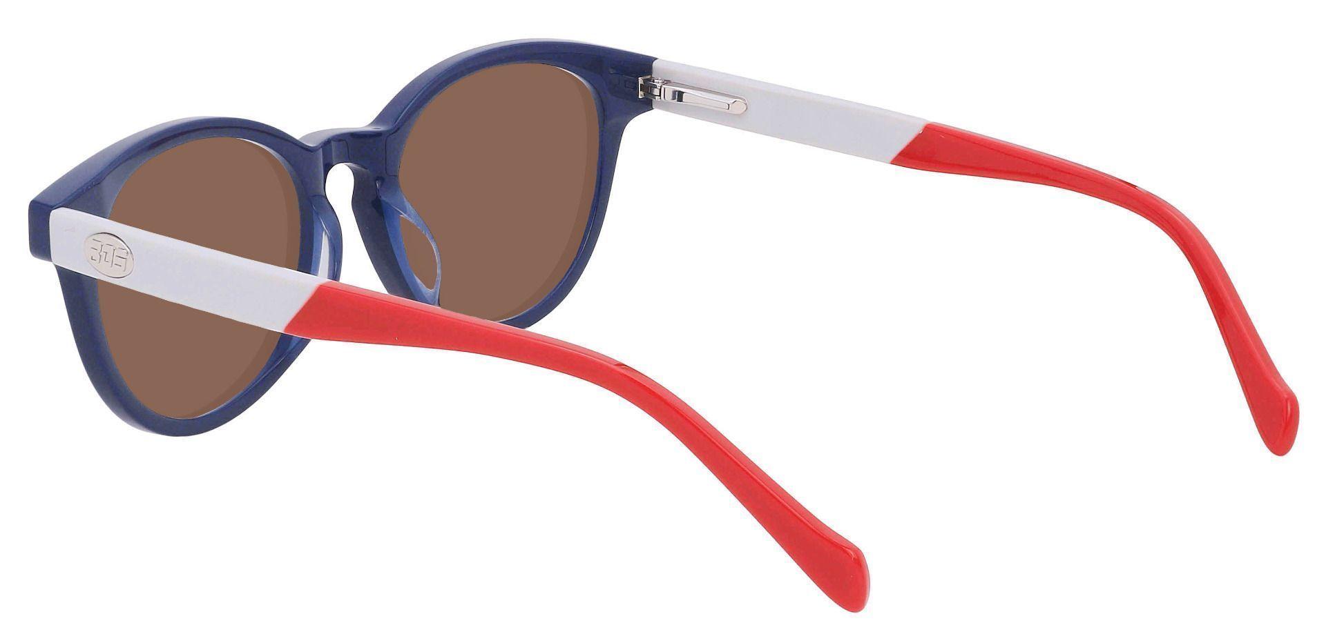 Revere Oval Reading Sunglasses - Blue Frame With Brown Lenses