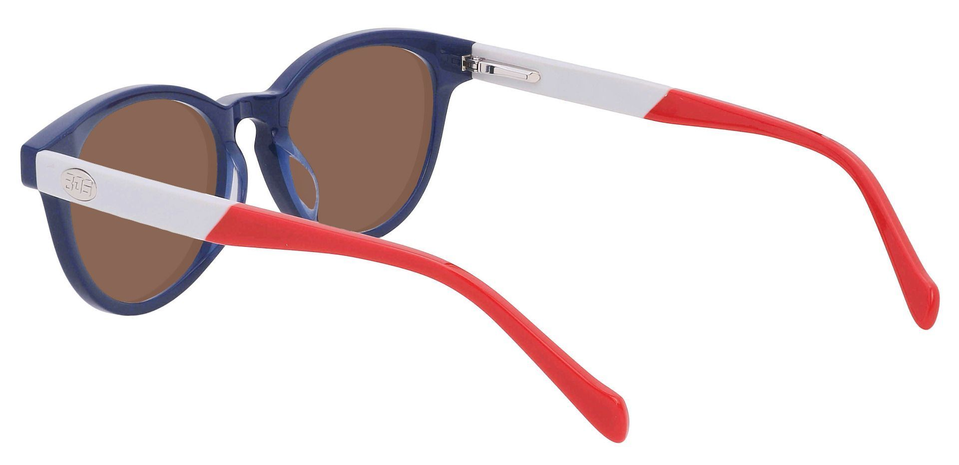 Revere Oval Prescription Sunglasses - Blue Frame With Brown Lenses