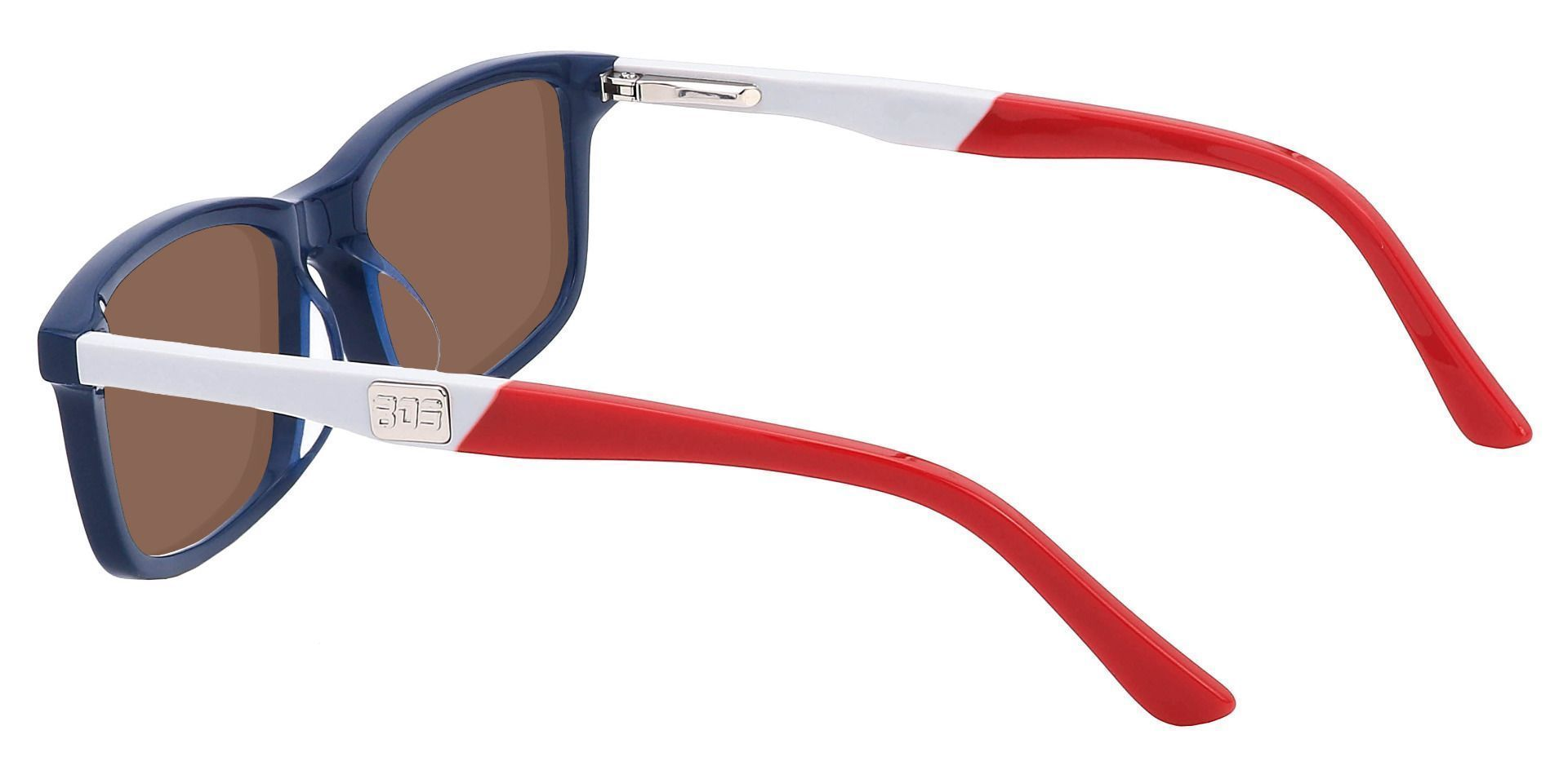 Titletown Rectangle Reading Sunglasses - Blue Frame With Brown Lenses