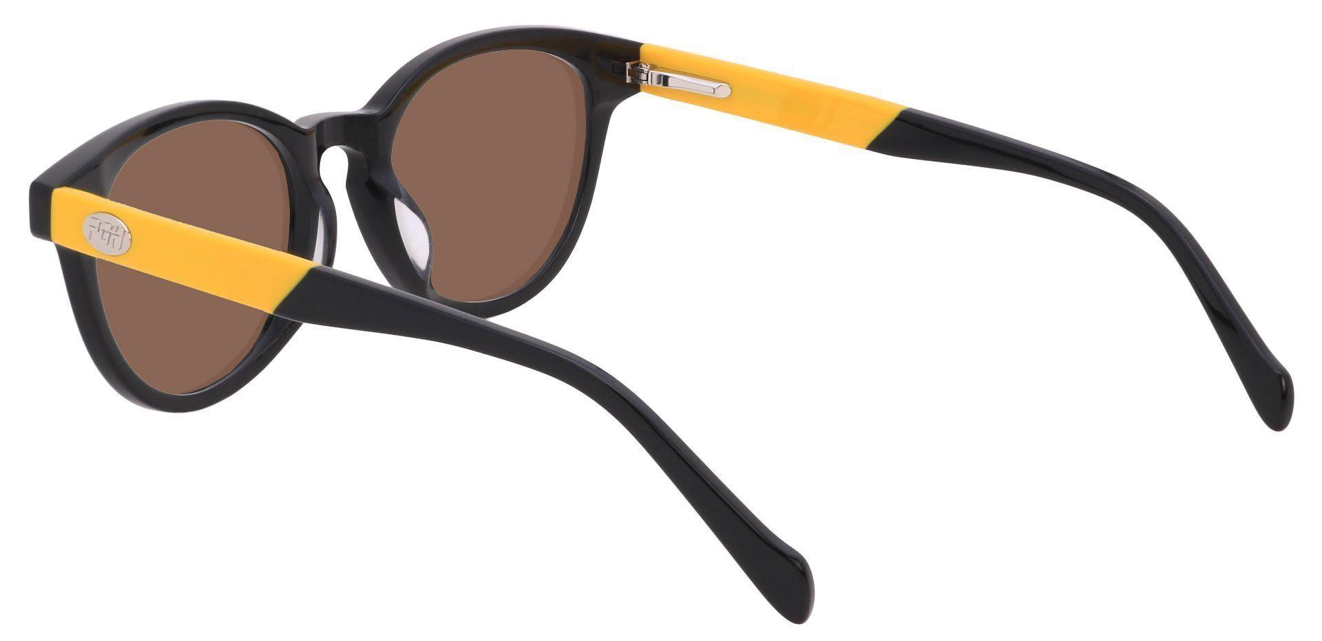 Oakland Oval Prescription Sunglasses - Black Frame With Brown Lenses