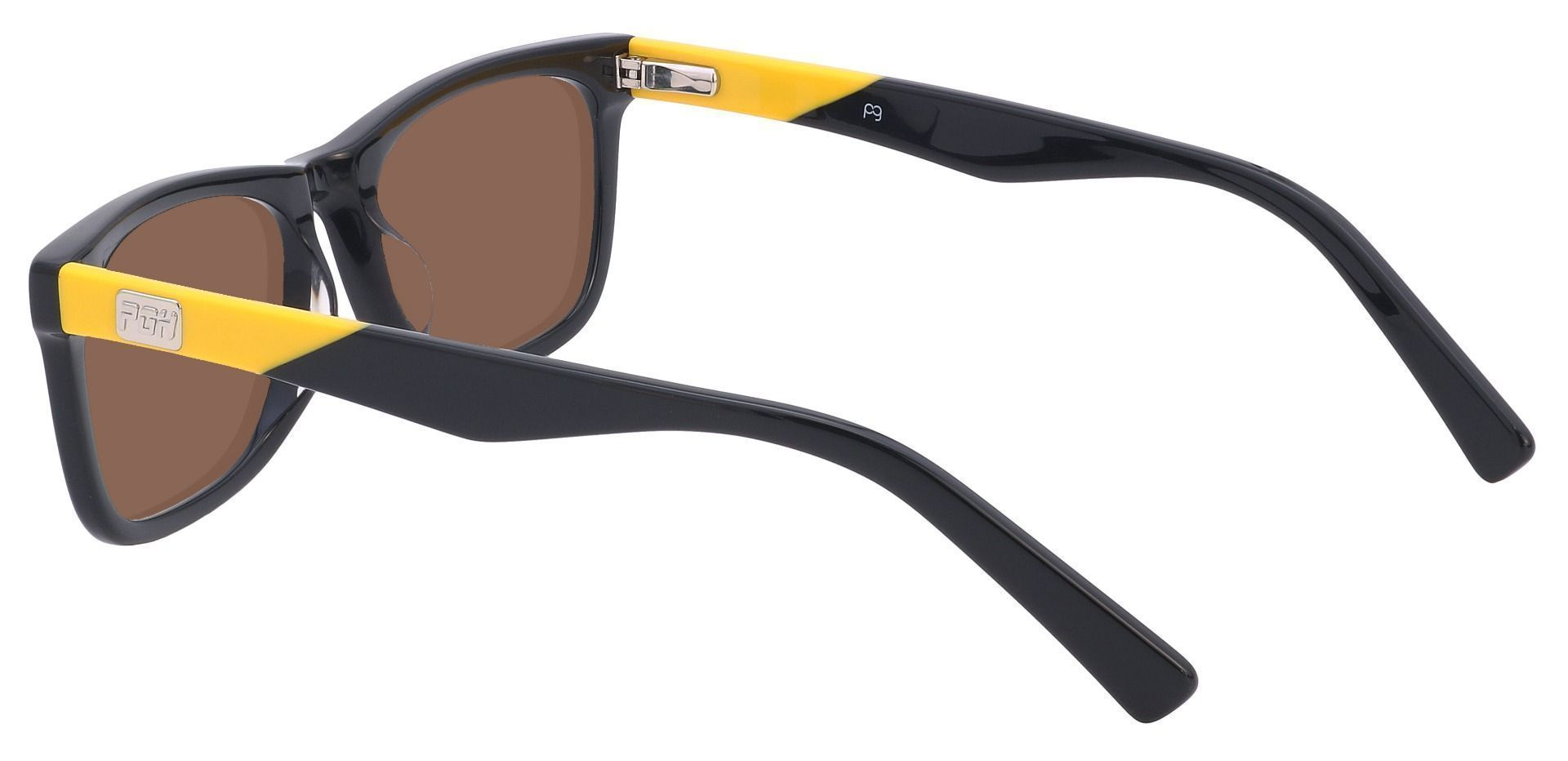 Blitz Rectangle Single Vision Sunglasses - Black Frame With Brown Lenses