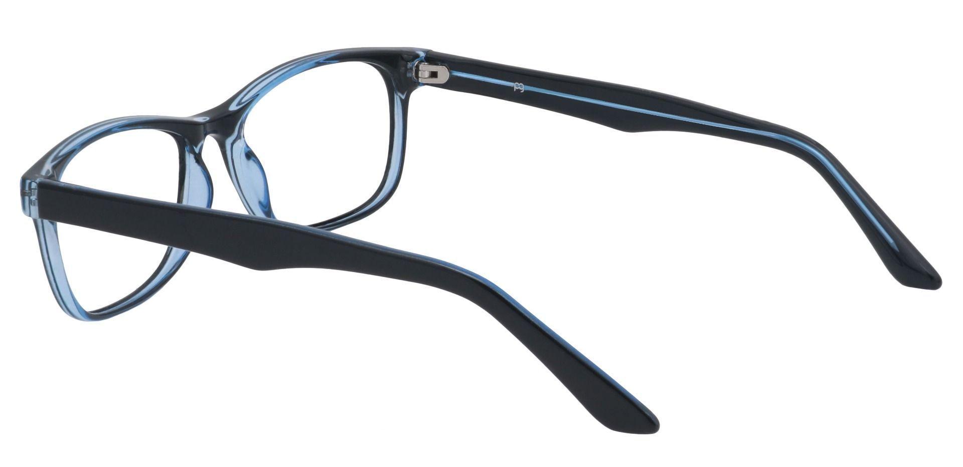 Village Rectangle Prescription Glasses - The Frame Is Black And Blue