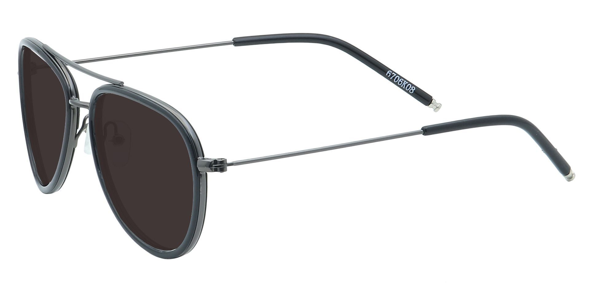 Ace Aviator Single Vision Sunglasses - Black Frame With Gray Lenses