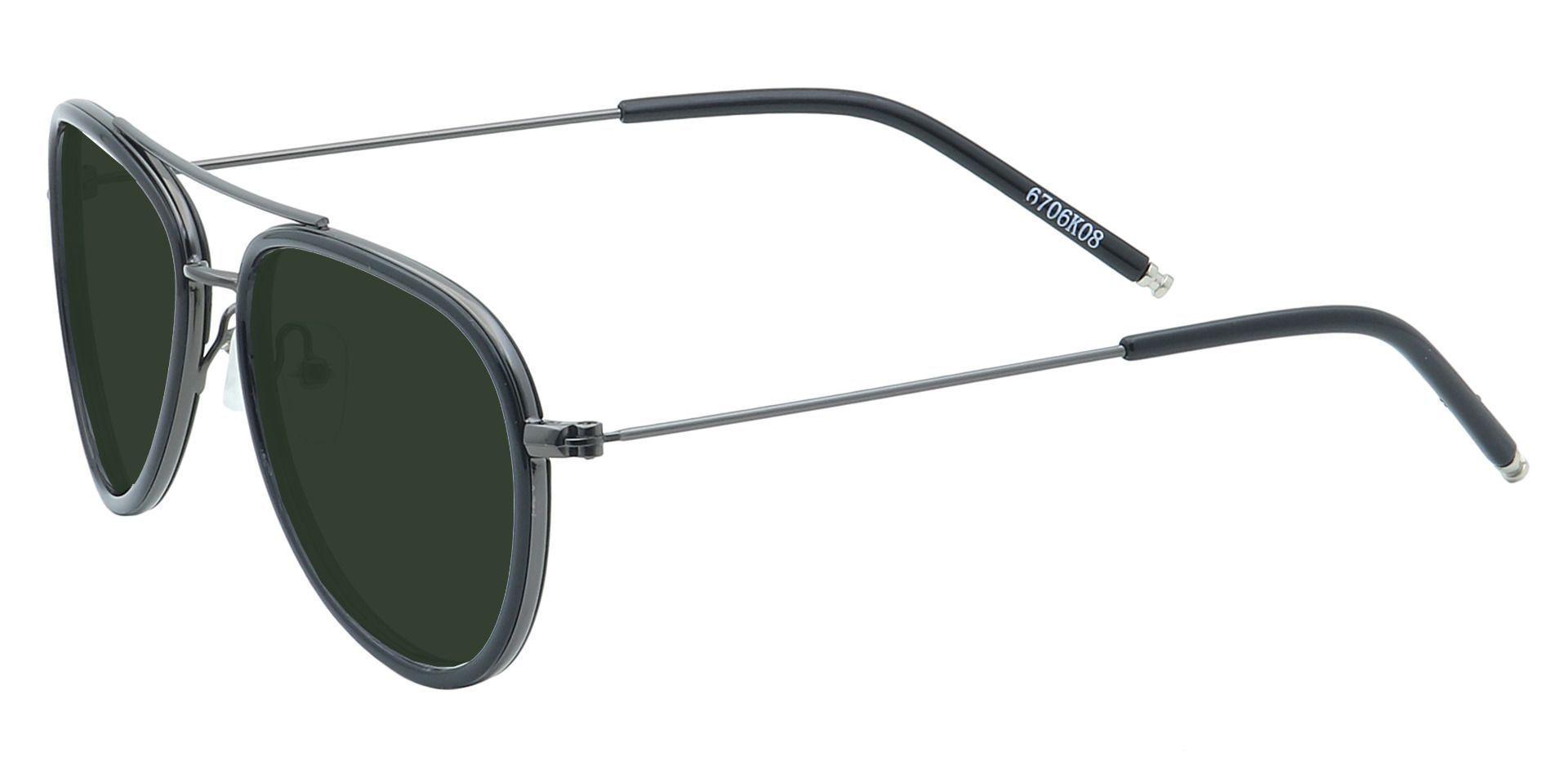 Ace Aviator Single Vision Sunglasses - Black Frame With Green Lenses