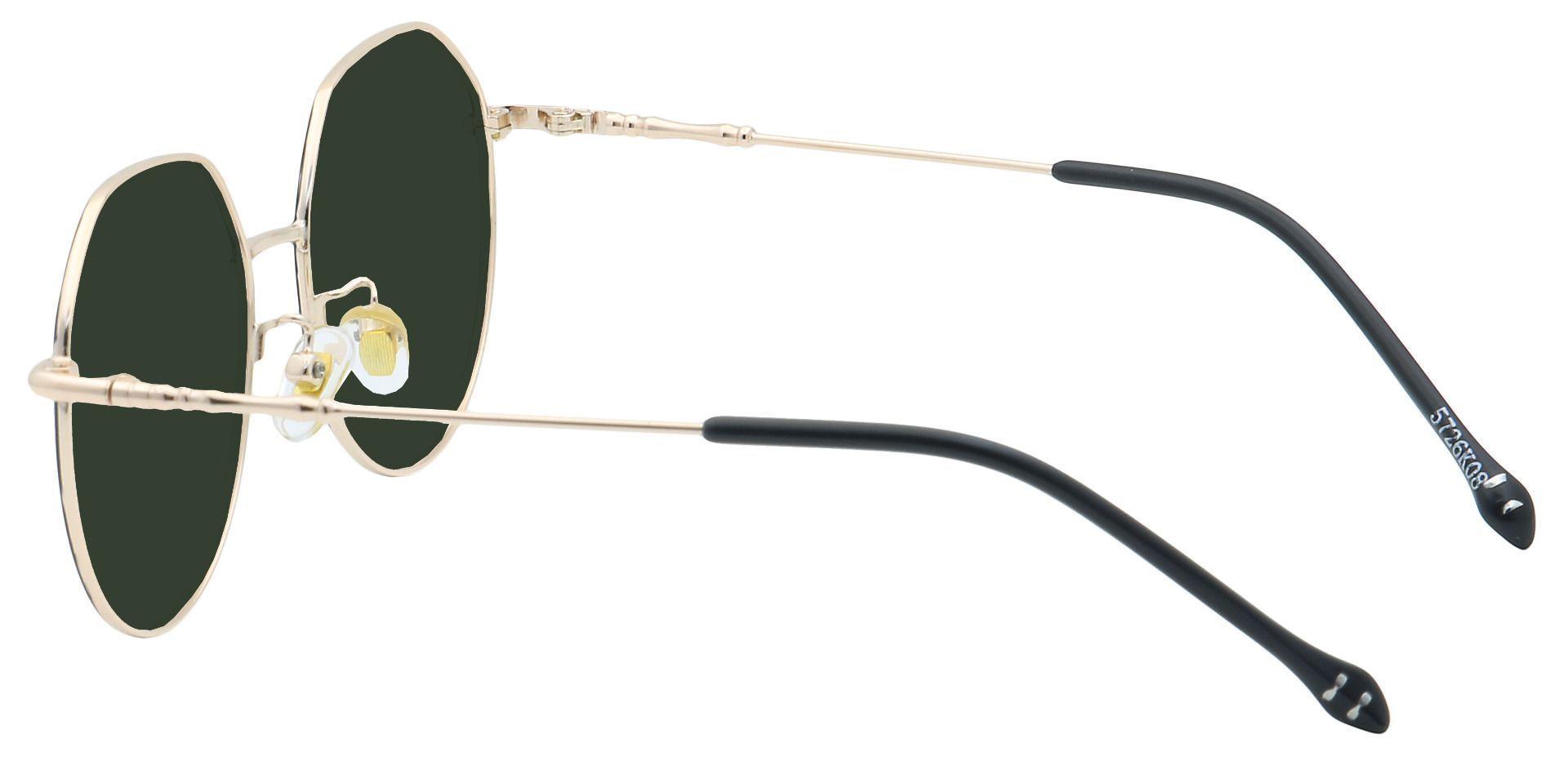 Wesley Round Prescription Sunglasses - Black Frame With Green Lenses