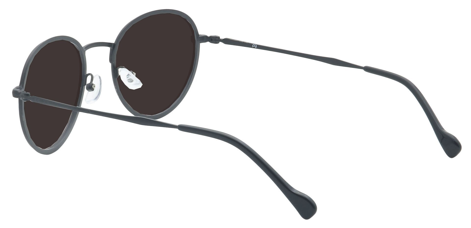 Page Oval Prescription Sunglasses - Black Frame With Gray Lenses