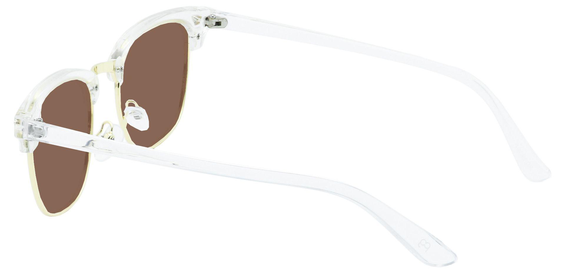 Ella Browline Prescription Sunglasses - Clear Frame With Brown Lenses