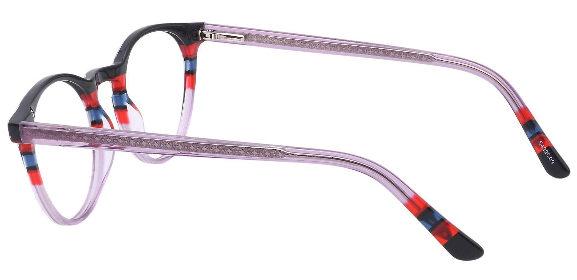 Jellie Round Progressive Glasses - Black/red Lavender Stripe  Purple