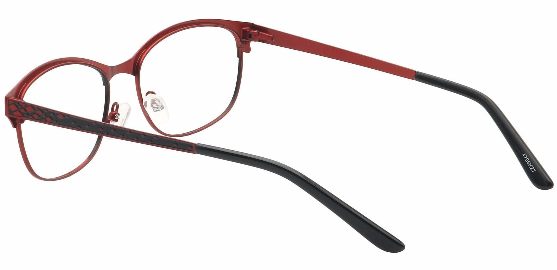 Aria Oval Blue Light Blocking Glasses - Red