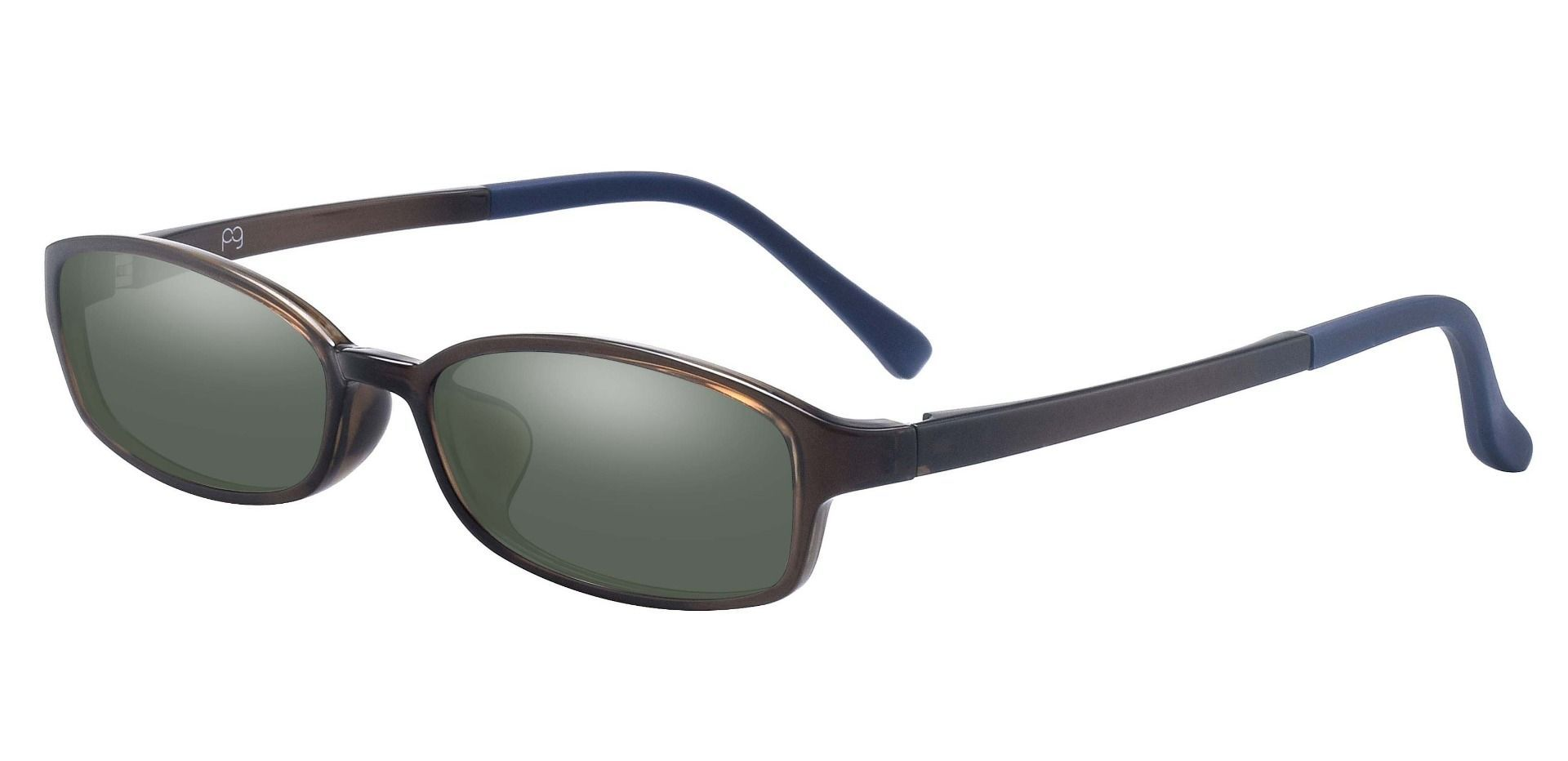 Henny Oval Single Vision Sunglasses - Green Frame With Green Lenses