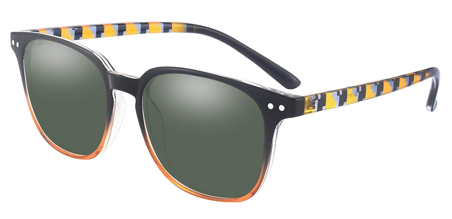 Ravine Oval Prescription Sunglasses - Black Frame With Green Lenses