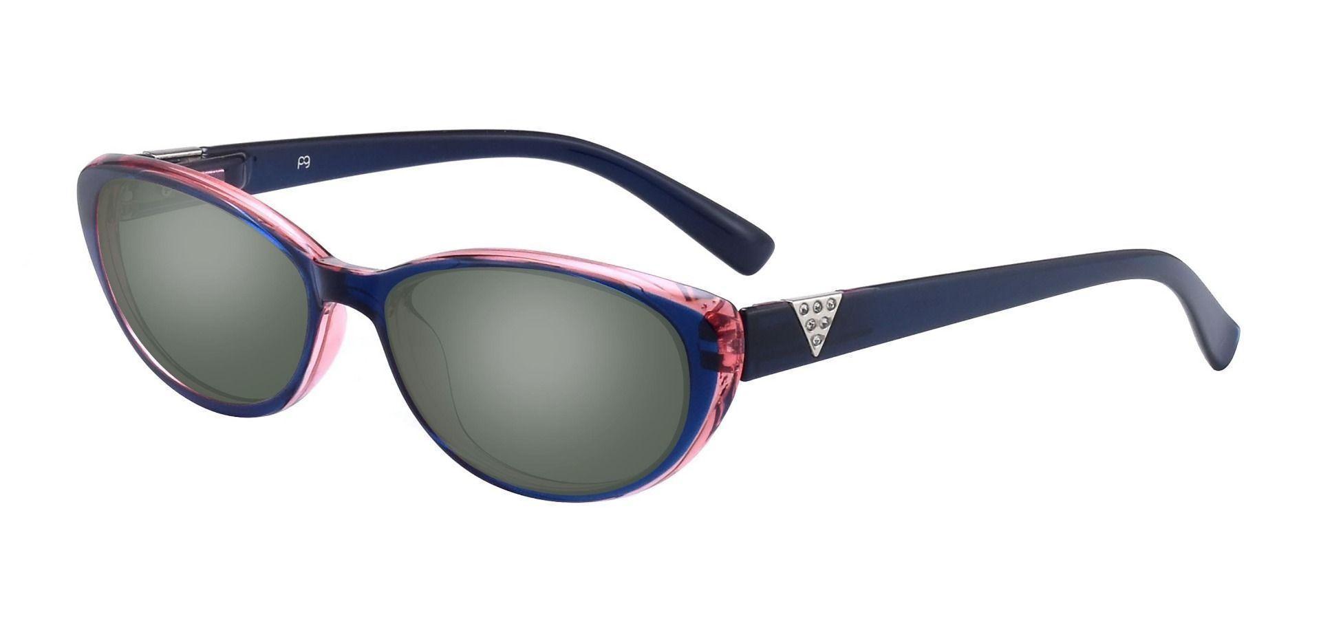 Iona Cat-Eye Prescription Sunglasses -  Blue Frame With Green Lenses