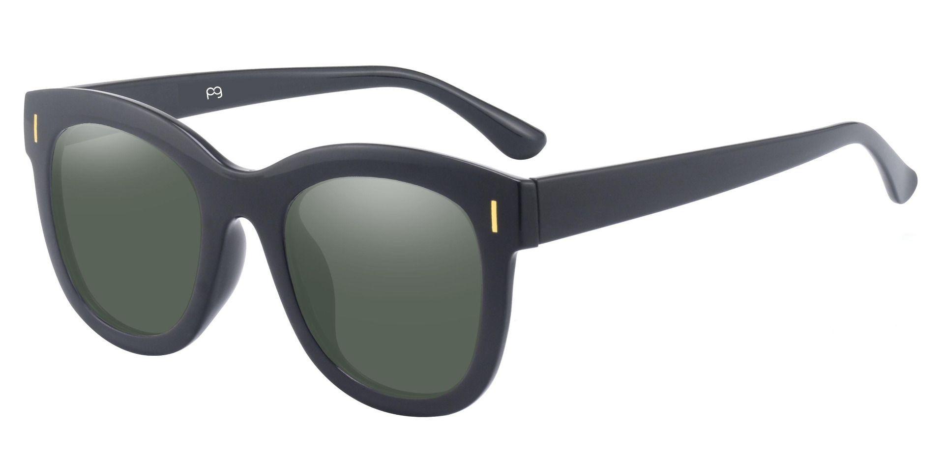 Saratoga Square Lined Bifocal Sunglasses - Black Frame With Green Lenses