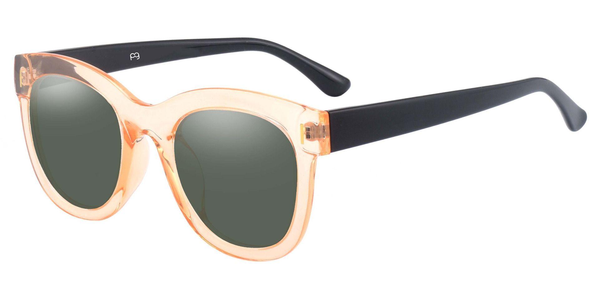 Saratoga Square Prescription Sunglasses - Brown Frame With Green Lenses
