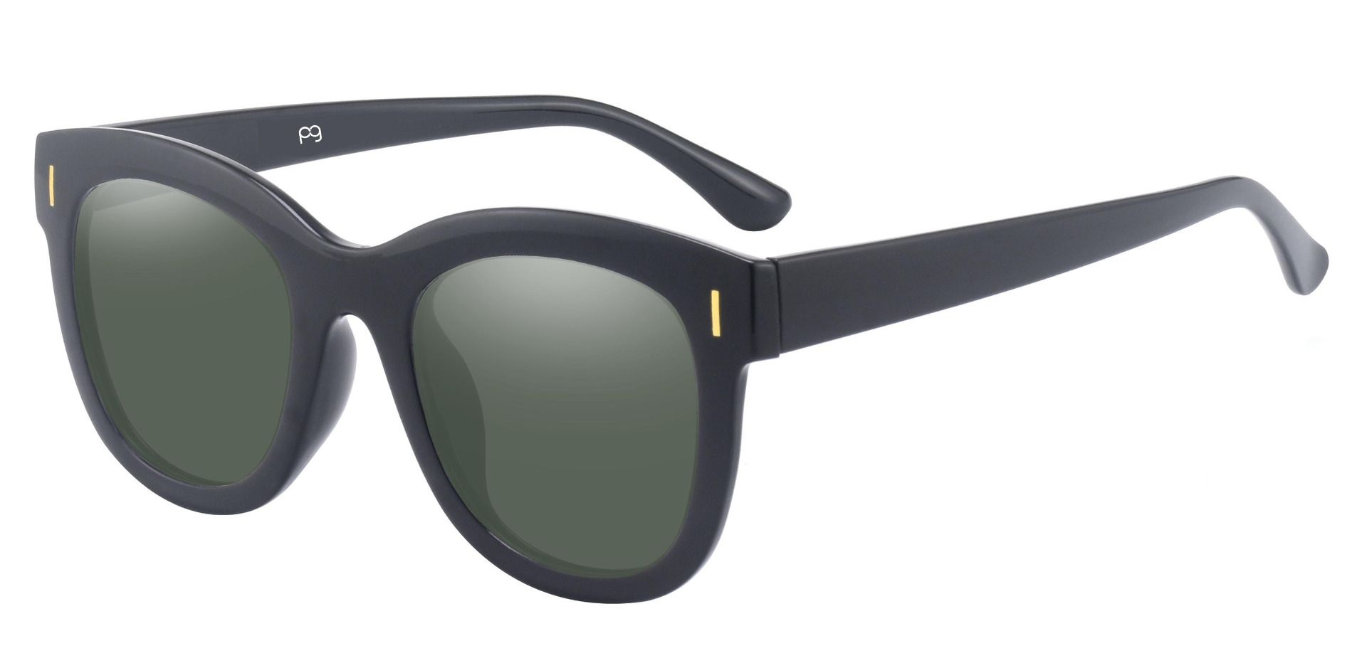Saratoga Square Progressive Sunglasses - Black Frame With Green Lenses