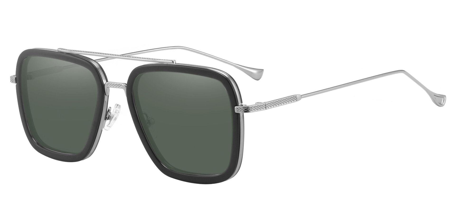 Cruz Aviator Reading Sunglasses - Black Frame With Green Lenses