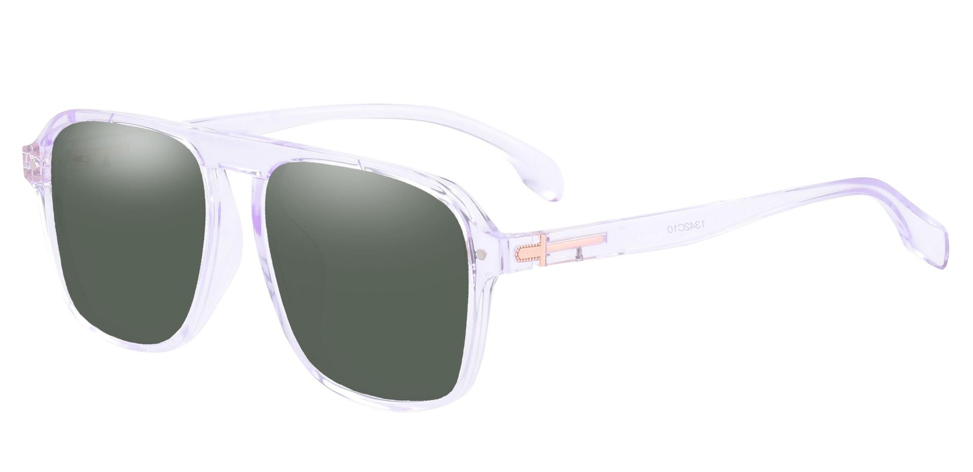 Gideon Aviator Non-Rx Sunglasses - Clear Frame With Green Lenses