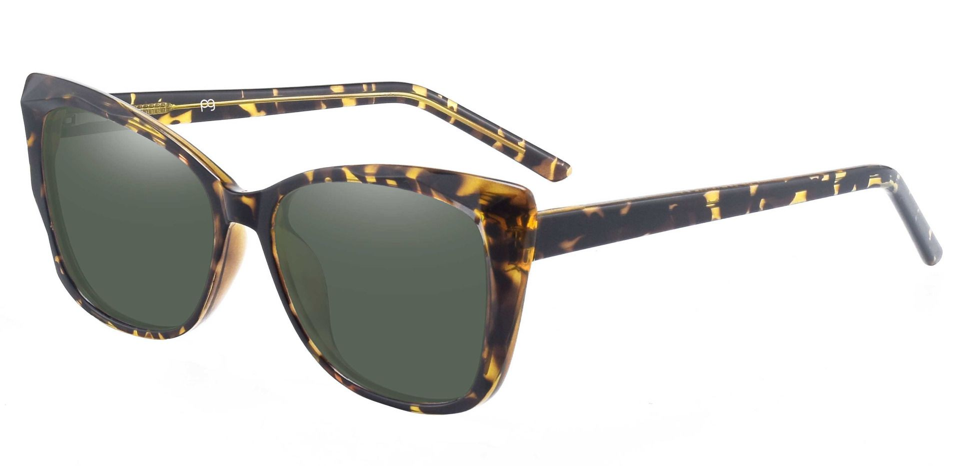 Mabel Square Lined Bifocal Sunglasses - Tortoise Frame With Green Lenses