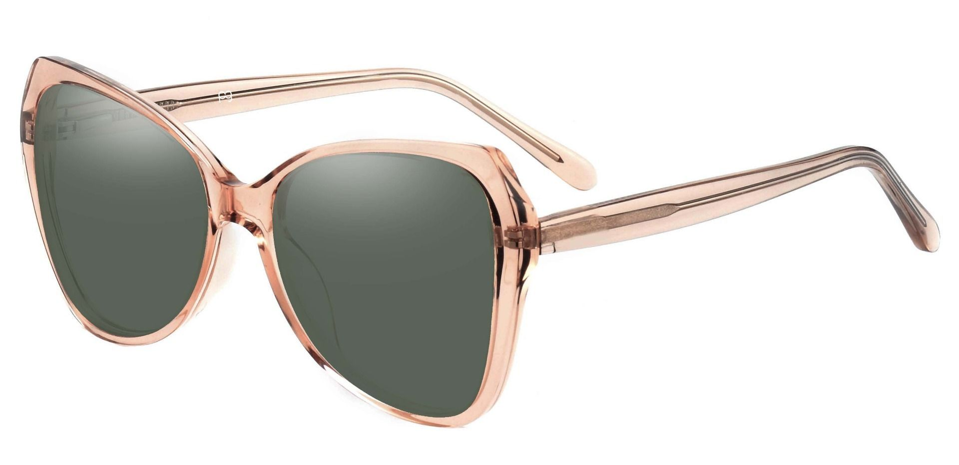 Kayla Geometric Lined Bifocal Sunglasses - Brown Frame With Green Lenses