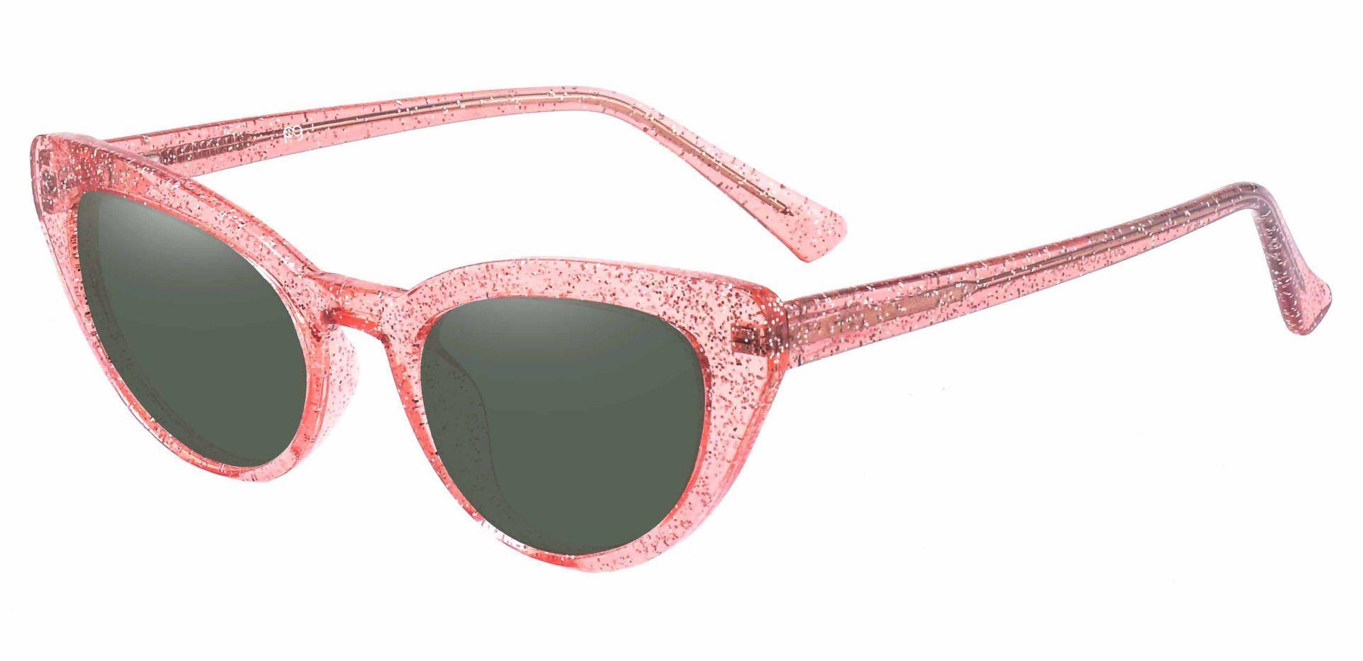 June Cat Eye Prescription Sunglasses - Pink Frame With Green Lenses