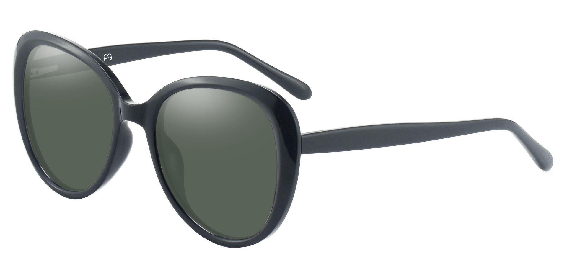 Sheridan Oval Reading Sunglasses - Black Frame With Green Lenses